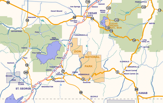 Zion Lodging Map